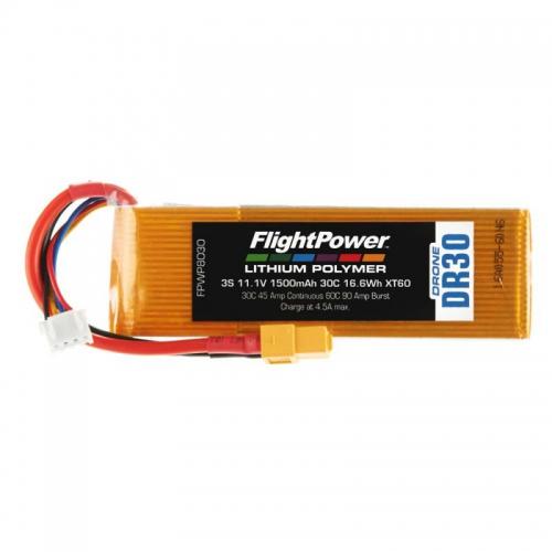 Flightpower LIPO DRONE 11.1V 1500mAh 30C XT6 FPWP8030