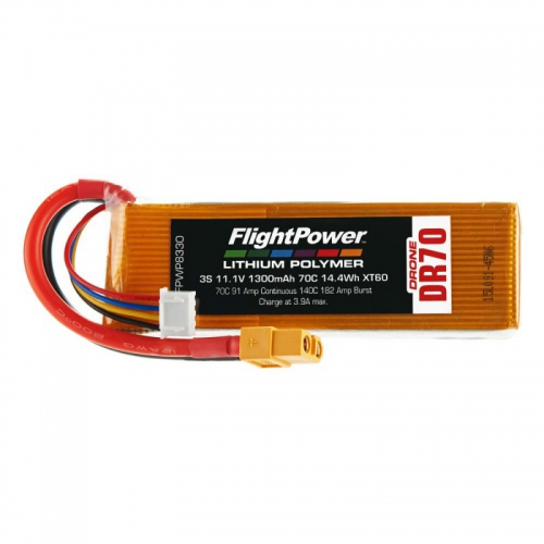 Flightpower LIPO DRONE 11.1V 1300mAh 70C XT6 FPWP8330