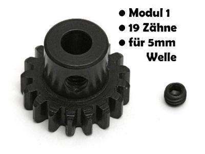 Motor-Ritzel, Modul 1, Stahl, 19 Zähne, 5mm Welle Thunder Tiger 03089594