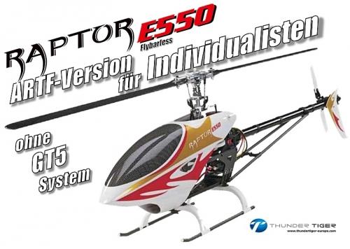 RAPTOR E550 Flybarless ARF ohne GT5.2 Thunder Tiger 4732-A13X