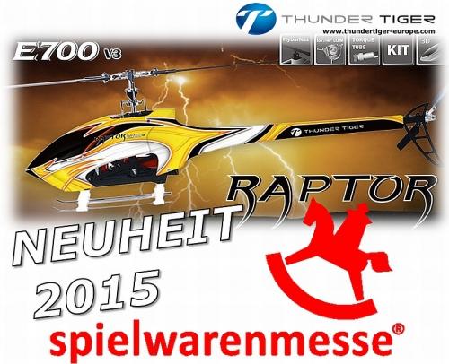 E700 RAPTOR V3 Flybarless Elektro Rumpf-Helikopter Kit Thunder Tiger 4761-K30