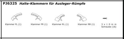 VOLANS Halte-Klammern für Ausleger-Rümpfe (4) für 5548 Thunder Tiger PJ6325