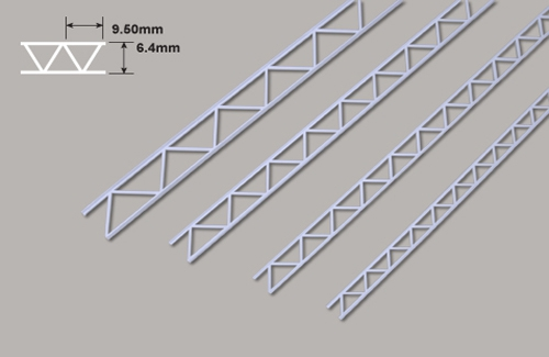 Leiterträger diagonal- 6.4 x 9.50 x 150mm Plastruct