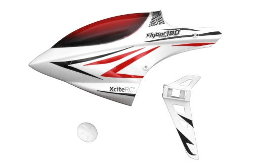 Kabinenhaube + Stabilisator weiß Flybar 190E Single Blade XciteRC 13008010