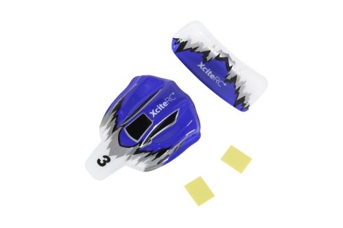 Karosserie und Flügel  für High-Speed Racebuggy 2WD RTR blau/ weiß/ silber XciteRC 30801017