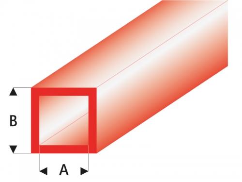 ASA Quadrat Rohr transparent rot 3x4x330 mm (5) Krick rb434-55-3