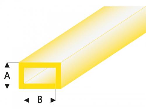 ASA Rechteck Rohr transparent gelb 3x6x330 mm (5) Krick rb440-55-3