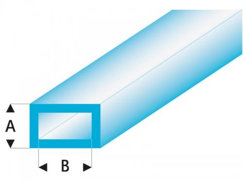 ASA Rechteck Rohr transparent blau 3x6x330 mm (5) Krick rb445-55-3