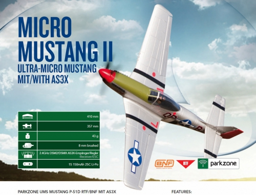 Parkzone Ultra-Micro P-51D Mustang RTF Mode 1 mit  AS3X Horizon