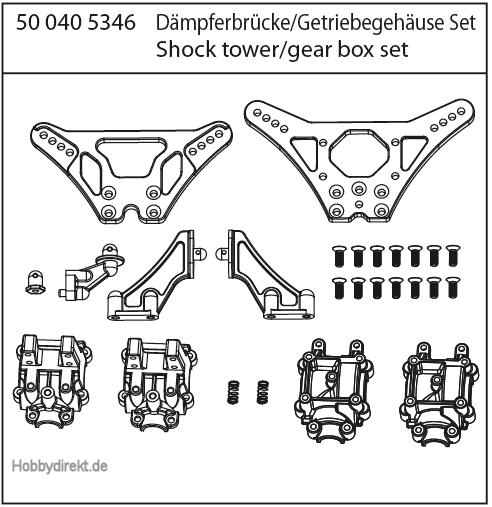 X10EB Dämpferbrücken/Getriebegehäuse Carson 405346 500405346