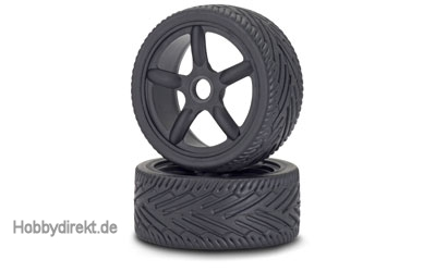 1:8 On-Road Reifen/Felgen-Set, schw. (2) Carson 900076 500900076