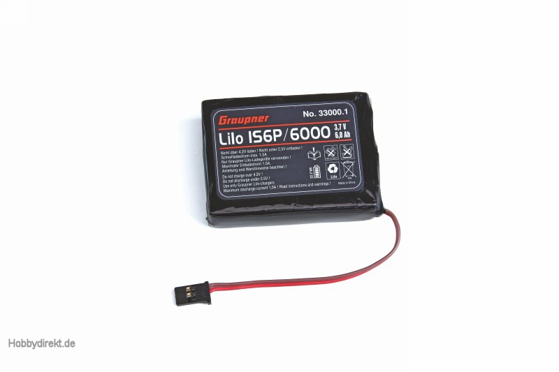Senderakku LiPo 1S2P/6000 3,7V TX flach Graupner 33000.1
