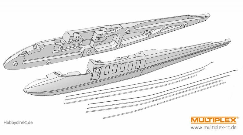 Rumpfhälften+Bowdenzüge TwinStar II Multiplex 224170