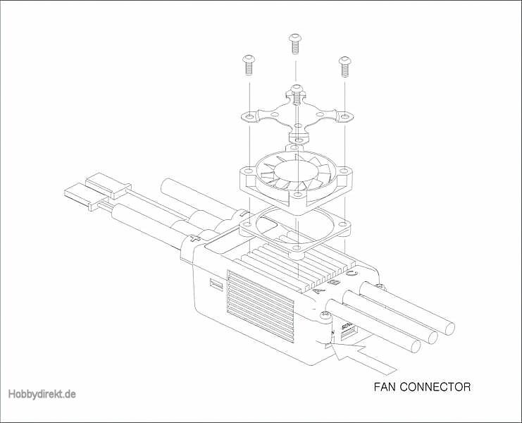 Lüfter für BRUSHLESSCONTROL +T HV Regl. Graupner S8365