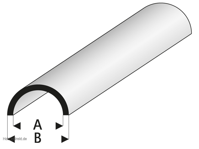 ASA Rohr halbrund 2,5x4x1000 mm Krick rb403-53
