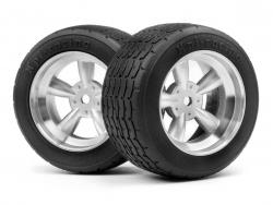 Vintage Racing Reifen 31mm auf 5 Speichen Matt-Chromfelge (2St) HPI 117378