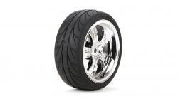 Vaterra 5-Speichenchromfelgen m. Reifen vorne montiert 54 x 26 mm (2 Stk) Horizon VTR43038