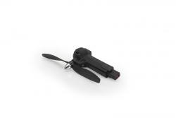 Schwarzer Arm mit Motor und Propeller (linksdrehend/ccw, gruene LED) - Gravit Dark Vision LRP 222931
