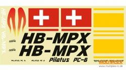Dekorbogen Pilatus PC-6 rot Multiplex 224374