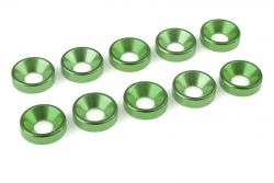 Team Corally - Aluminium Unterlegscheibe - für M5 Senkkopfschrauben - AD=12mm - Grün - 10 St C-31221