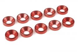 Team Corally - Aluminium Unterlegscheibe - für M5 Senkkopfschrauben - AD=12mm - Rot - 10 St C-31225