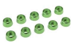 Team Corally - Aluminium Unterlegscheibe - für M4 Zylinderkopfschrauben - AD=10mm - Grün - 10 St C-31281