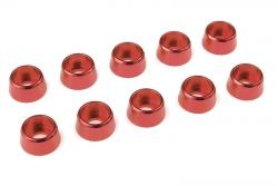 Team Corally - Aluminium Unterlegscheibe - für M4 Zylinderkopfschrauben - AD=10mm - Rot - 10 St C-31285