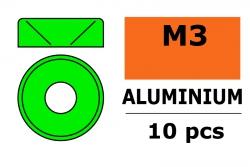 G-Force RC - Aluminium Unterlegscheibe - für M3 Senkkopfschrauben - AD=8mm - Grün - 10 St GF-0405-031