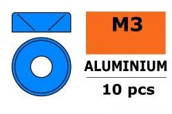 G-Force RC - Aluminium Unterlegscheibe - für M3 Senkkopfschrauben - AD=8mm - Blau - 10 St GF-0405-034