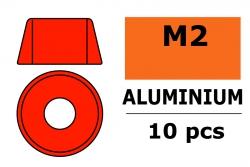 G-Force RC - Aluminium Unterlegscheibe - für M2 Zylinderkopfschrauben - AD=6mm - Rot - 10 St GF-0406-015