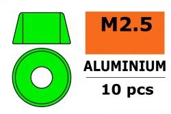 G-Force RC - Aluminium Unterlegscheibe - für M2.5 Zylinderkopfschrauben - AD=7mm - Grün - 10 St GF-0406-021