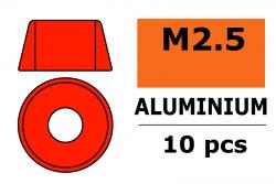 G-Force RC - Aluminium Unterlegscheibe - für M2.5 Zylinderkopfschrauben - AD=7mm - Rot - 10 St GF-0406-025