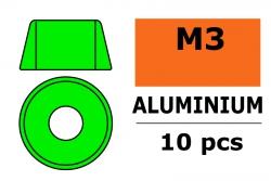 G-Force RC - Aluminium Unterlegscheibe - für M3 Zylinderkopfschrauben - AD=8mm - Grün - 10 St GF-0406-031