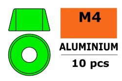 G-Force RC - Aluminium Unterlegscheibe - für M4 Zylinderkopfschrauben - AD=10mm - Grün - 10 St GF-0406-041