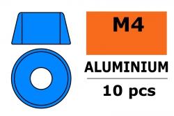 G-Force RC - Aluminium Unterlegscheibe - für M4 Zylinderkopfschrauben - AD=10mm - Blau - 10 St GF-0406-044