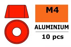 G-Force RC - Aluminium Unterlegscheibe - für M4 Zylinderkopfschrauben - AD=10mm - Rot - 10 St GF-0406-045