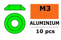 G-Force RC - Aluminium Unterlegscheibe - for M3 Linsenkopfschrauben - AD=10mm - Grün - 10 St GF-0407-021