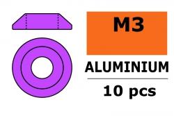 G-Force RC - Aluminium Unterlegscheibe - for M3 Linsenkopfschrauben - AD=10mm - Violet - 10 St GF-0407-022