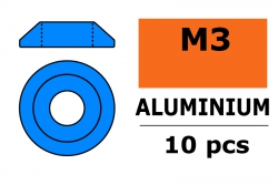 G-Force RC - Aluminium Unterlegscheibe - for M3 Linsenkopfschrauben - AD=10mm - Blau - 10 St GF-0407-024