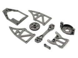 Ishima - Servo Top Plate + Motor Holder +Rear Shock Tower + Side Plates B +Servo Arm + Spur Gear 51T ISH-010-002