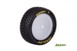 Louise RC - E-MAGLEV - 1-10 Buggy Reifen - Fertig Verklebt - Super Soft - Felgen Weiss - Kyosho - Hex 12mm - 4WD - Vorder - 1 Paar LR-T3174VWKF