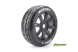 Louise RC - B-ROCKET - 1-8 Buggy Reifen - Fertig Verklebt - Soft - Speichen Felgen Schwarz - Hex 17mm - 1 Paar LR-T3190SB
