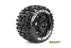 Louise RC - MT-PIONEER - 1-8 Monster Truck Reifen - Fertig Verklebt - Medium - 3.8 Felgen Schwarz - 1/2-Offset - EP E-REVO Vorder - Hinten - EP SUMM