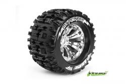 Louise RC - MT-PIONEER - 1-8 Monster Truck Reifen - Fertig Verklebt - Medium - 3.8 Felgen Chrom - 0-Offset - EP E-MAXX Vorder - Hinten - GP REVO 3.3