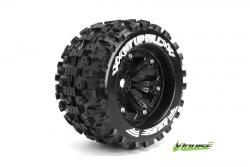 Louise RC - MT-UPHILL - 1-8 Monster Truck Reifen - Fertig Verklebt - Medium - 3.8 Felgen Schwarz - 1/2-Offset - EP E-REVO Vorder - Hinten - EP SUMMI