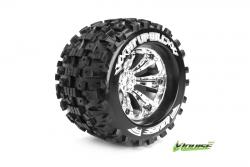 Louise RC - MT-UPHILL - 1-8 Monster Truck Reifen - Fertig Verklebt - Medium - 3.8 Felgen Chrom - 0-Offset - EP E-MAXX Vorder - Hinten - GP REVO 3.3 V
