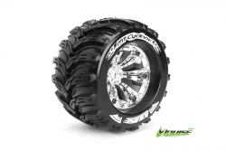 Louise RC - MT-CYCLONE - 1-8 Monster Truck Reifen - Fertig Verklebt - Medium - 3.8 Felgen Chrom - 1/2-Offset - EP E-REVO Vorder - Hinten - EP SUMMIT