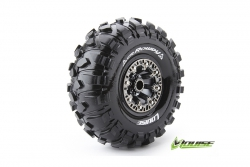 Louise RC - CR-ROWDY - 1-10 Crawler Reifen - Fertig Verklebt - Super Soft - 2.2 Felgen Schwarz Chrom - Hex 12mm - 1 Paar LR-T3238VBC