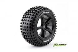 Louise RC - T-ROCK - 1-8 Truggy Reifen - Fertig Verklebt - Soft - Speichen Felgen Schwarz - 0-Offset - Hex 17mm - 1 Paar LR-T3251SB