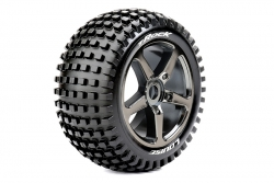 Louise RC - T-ROCK - 1-8 Truggy Reifen - Fertig Verklebt - Soft - Speichen Felgen Schwarz Chrom - 0-Offset - Hex 17mm - 1 Paar LR-T3251SBC